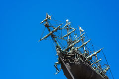 Sailing ship on a blue sky Stock Photos
