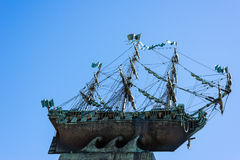 Sailing ship on a blue sky Royalty Free Stock Image