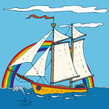 Sailing Ship. With with blue sky and ocean. Vector illustration Stock Photos