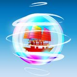 Sailing ship in a bubble stock illustration