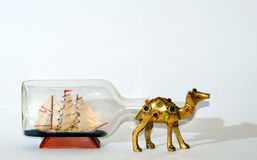 Sailing ship after Camel collage . Stock Image