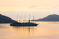 Sailing Ship Club Med 2 at dusk Stock Images