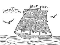 Sailing ship coloring book for adults vector Stock Photography
