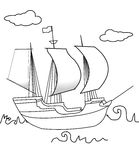 Sailing ship coloring page Royalty Free Stock Images