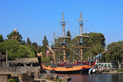 Sailing ship Columbia in Disneyland. Full-scale replica of a majestic 3-masted sailing ship from the 18th century.  Ship is in the Rivers of America at Royalty Free Stock Photos