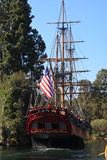 Sailing ship Columbia in Disneyland. Full-scale replica of a majestic 3-masted sailing ship from the 18th century.  Ship is in the Rivers of America at Stock Images