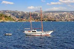 Sailing ship cruising into Bosphorus. Two masted wooden sailing boat cruising into Bosphorus Stock Photography
