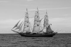 Sailing Ship. Danish sailing training and schoolship Georg Stage in Gdansk Bay, Poland, on her way to regatta to Skt.Petersburg in Russia Royalty Free Stock Photo