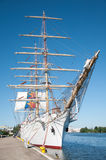 Sailing ship Dar Mlodziezy by the wharf Royalty Free Stock Photo