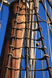 Sailing ship detail. With blue clear sky background stock image