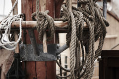 Sailing Ship details mast and ropes Stock Photography