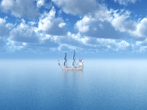 Sailing Ship in the Distance. Computer generated 3D illustration with a Sailing Ship in the Distance Stock Photo