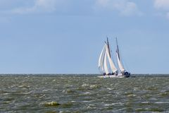 Sailing ship at Dutch sea. IJsselmeer Stock Photography