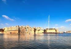 Sailing ship enters Grand Valetta Bay, Malta Stock Photos