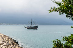 Sailing ship floating in the sea Royalty Free Stock Image