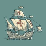 Sailing ship floating on the sea waves. Caravel Santa Maria with Columbus. Hand drawn design element. Vintage vector Stock Image