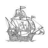 Sailing ship floating on the sea waves. Caravel Santa Maria. Hand drawn design element. Vintage black vector engraving illustration isolated on white on white Royalty Free Stock Photos