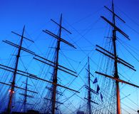 Sailing ship fragment. Fragment of sailing ship over blue evening sky Stock Photos