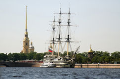 Sailing ship in front of Peter and Paul's Fortres Stock Photography