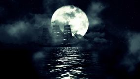A Sailing ship on a Full Moon Night Moves Slow Between the Waves and Fog