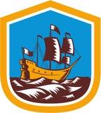 Sailing Ship Galleon Crest Retro Woodcut. Illustration of a sailing ship galleon set inside a shield done in retro woodcut style stock illustration