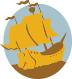 Sailing Ship Galleon Retro. Illustration of a sailing ship galleon set inside circle on isolated background done in retro style stock illustration