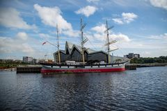 The sailing ship Glenlee at the Riverside Museum in Glasgow, Scotland. The sailing ship Glenlee, permanently moored at the Rivere Museum in Glasgow, Scotland Royalty Free Stock Image