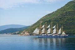 Sailing ship goes on Bay of Kotor Stock Photography
