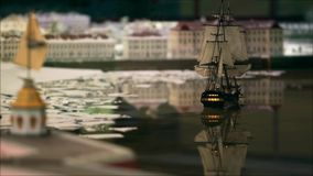 Sailing ship goes into port stock video footage