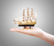 Sailing ship in the hand Stock Photo