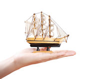 Sailing ship in the hand Stock Photography