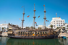 Sailing ship in the harbor. Royalty Free Stock Images