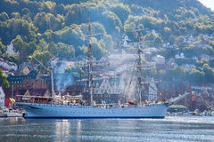 Sailing ship in the harbor of Bergen Stock Images