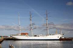 Sailing ship at the harbor of Stralsund. Sailing ship Gorch Fock 2 at the baltic sea harbor of Stralsund, Germany stock photography