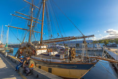 Sailing ship in Hobart Harbour Stock Photo