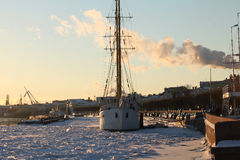 Sailing ship in the ice harbor stock photo