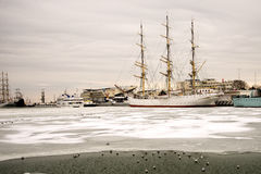 Sailing ship in the ice. Trapped in the ice ships and sailing ships in the port of Gdynia Stock Photos