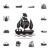 Sailing ship icon. Detailed set of ship icons. Premium graphic design. One of the collection icons for websites, web design,. Mobile app on white background stock illustration