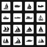 Sailing ship icons set, simple style Stock Images