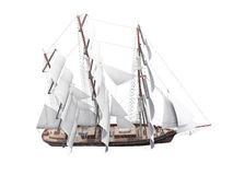Sailing ship isolated over white vector illustration