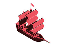 Sailing ship. Isometric  design Stock Photo