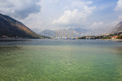 Sailing Ship in the Kotor Bay in Montenegro Stock Images