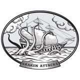 Sailing ship and Kraken monster octopus vector Royalty Free Stock Photography
