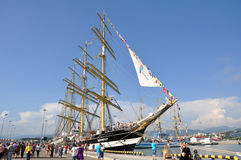 Sailing ship Kruzenshtern at the port of Sochi. Since December 25, 2013 to February 6, 2014 Kruzenshtern made the transition from the Baltic Sea to the Black Sea Royalty Free Stock Images