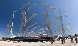 Sailing ship Kruzenshtern. SEVASTOPOL, RUSSIA - MAY 07: Celebrating eve of the 69th anniversary of the Victory Day (WWII).Sevastopol 2014.sailing ship Royalty Free Stock Images