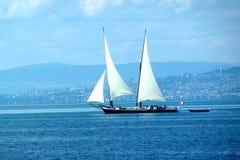 Sailing ship. On lake geneva Royalty Free Stock Images
