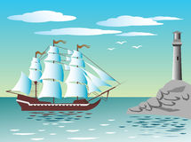 Sailing ship at the lighthouse Royalty Free Stock Image