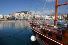 Sailing ship in Los Cristianos Stock Images