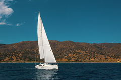 Sailing ship luxury yacht boat in the Sea. Travel. Royalty Free Stock Photography