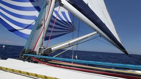 Sailing ship luxury yacht boat with white sails in the Sea. Sport. stock footage